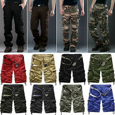 Classic Mens Cargo Combat Army Work Pants Military Camo Shorts Trousers Overalls