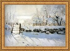 "Claude Monet The Magpie Framed Canvas Giclee Print 49""x35"" (V99-22)"