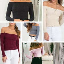 Tops T-Shirt Knit Sweater Short Blouse Pullover Off Shoulder Sexy Women Casual