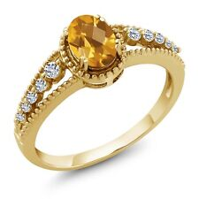 0.89 Ct Oval Checkerboard Yellow Citrine White Topaz 14K Yellow Gold Ring