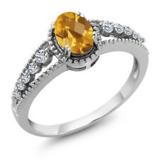 0.91 Ct Oval Checkerboard Yellow Citrine White Topaz 14K White Gold Ring