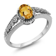 0.80 Ct Oval Yellow Citrine White Diamond 14K White Gold Ring