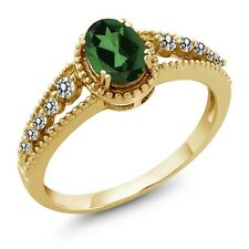 1.00 Ct Oval Emerald Envy Mystic Topaz White Diamond 14K Yellow Gold Ring