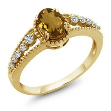 0.91 Ct Oval Whiskey Quartz White Topaz 14K Yellow Gold Ring