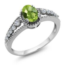 1.06 Ct Oval Checkerboard Green Peridot White Topaz 925 Sterling Silver Ring