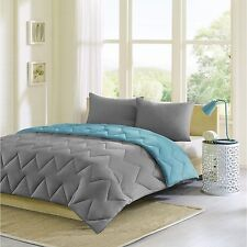 NEW Twin XL Full Queen King Bed Solid Blue Gray Chevron 3 pc Comforter Shams Set