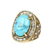 Blue Turquoise Rhinestone Ring Pattern Carved Crystal Bridal Party Rings Unisex