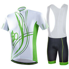 Mens Bike Cycling Short Wear Set Bicycle Jersey &Padded Bib Shorts / Pants Suit