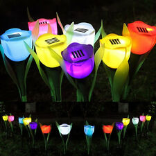 Solar Powered Tulip Flower LED Light Yard Garden Path Way Landscape Lamp Outdoor