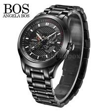 Angela Bos Black Dial Automatic Skeleton Mechanical Mens Analog Wrist Watch V5T9