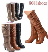 Women's Chunky Heel Knee High Zipper Dress Boots Women's Shoes Size 5 - 10 NEW