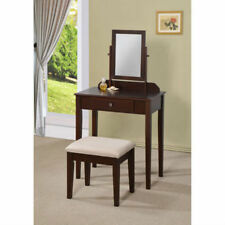Sky 3-Piece Vanity Table and Padded Stool Set w/ 1 Drawer Wood Multiple Colors
