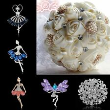 Fashion Jewelry Crystal Sapphire Dance Girl Flower Wedding Brooch Pin Bouquet 1P