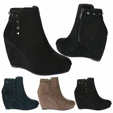 Marnie Womens Mid High Wedge Heel Studded Platforms Ankle Boots Ladies Shoes New