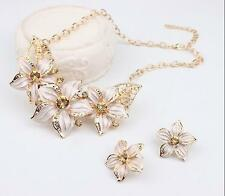 Set Statement Hot Crystal Flower Woman Charm Necklace Jewelry Earrings