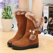 Vintage Women's Winter Warm Snow Boots Thicken Fur  Scrub Suede Casual Shoes Sz