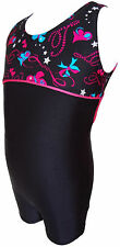 TALENT TALE GIRLS DANCE/ GYMNASTIC Empire Waist Printed Black Tank Biketard