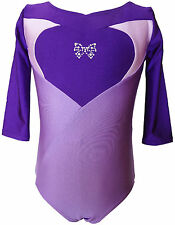 TALENT TALE GIRLS DANCE/ GYMNASTIC 3/4 Sleeve Heart Leotard with Rhinestone