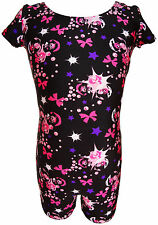 TALENT TALE GIRLS DANCE/ GYMNASTIC PRINTED SHORT SLEEVE BIKETARD