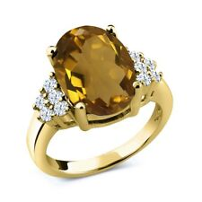 5.40 Ct Oval Whiskey Quartz White Topaz 18K Yellow Gold Plated Silver Ring