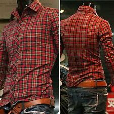 Mens Fashion Luxury Casual Slim Fit Stylish Plaid Dress Shirt Long Sleeve Shirts