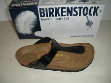 WOMENS BIRKENSTOCK GIZEH THONG SANDALS - BIRKO-FLOR- BLACK PATENT - 043661 -NEW