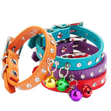 1PC Dog Cat PU Leather Rhinestone Necklace Neck Strap Puppy Buckle Bell Collar R