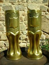 WW1 Trench Art Vases - 1916 - British 18 Pounder Artillery Shells (PAIR)