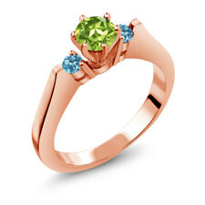 0.76 Ct Green Peridot Swiss Blue Topaz 925 Rose Gold Plated Silver 3-Stone Ring