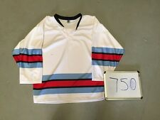 BLANK WHITE Red Lt Blue Classic Stripe Mens League 3v3 Pond Hockey Jersey 750