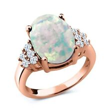 4.40 Ct Oval White Simulated Opal White Topaz 18K Rose Gold Plated Silver Ring