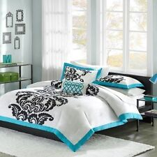 NEW Twin XL Full Queen King Bed 4pc Teal Blue White Damask Comforter Set Elegant