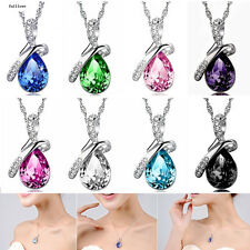 Fashion Silver Women Crystal Heart Chain Rhinestone Necklace Jewelry Pendant