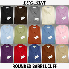 Lucasini Oxford Dress Shirt Rounded Barrel Cuffs French Placket Assorted Colors