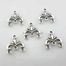 60/500pcs Antique Silver 1 To 3 holes Connectors Charms 13x12mm  (Lead-free)
