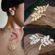 1 Pair New Simple Earrings Ear Stud Jewelry Alloy Leaves Personality Gold Silver