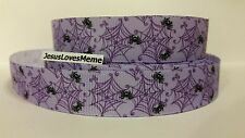 Grosgrain Ribbon, Cute Tiny Black Spiders on Purple Web, Halloween, Insects 7/8""