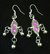 TRADITIONAL INDIAN DESIGN ETHNIC OXIDISED SILVER BOHO BLING FASHION EARRINGS