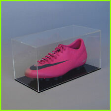 FOOTBALL BOOT DISPLAY CASE single boot CLEAR BLACK/ WHITE Acrylic Perspex