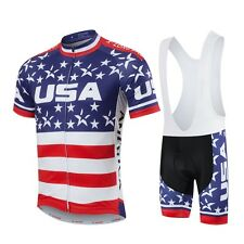 Mens Cycling Team Kit Clothes Bicycle Maillot Jersey & Padded Bib Shorts / Pants