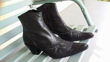 Franco Sarto size 9 1/2 medium BLACK Leather fancy DRESS western  Ankle Boots
