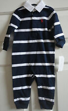 NWT Ralph Lauren Baby Coverall, Boys Rugby Striped Coverall. French Navy 9M