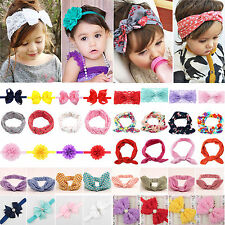 Baby Infant Girls Kids Cute Bunny Rabbit Bow Turban Headband Hair Band Headwrap