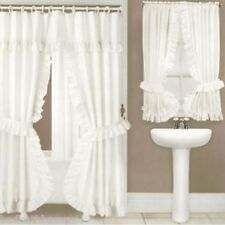 NEW WHITE Lauren Double Swag Shower Curtain with Liner & Tiebacks