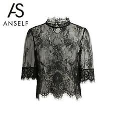 Sexy Women Lady Sheer Lace Blouse Half Sleeve Shirt Clubwear Top Black Tee G4D0