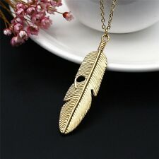 Hot Women Feather Pendant Long Chain Necklace Sweater Statement Vintage Jewelry