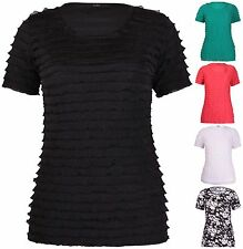 Womens New Plus Size Floral Print Ladies Stretch Short Sleeve Ruffle T-shirt Top