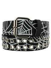 Spiderweb Print Eyelet Leather Black Belt