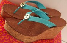 Tory Burch Women's Thora Turquoise Patent Leather Wedge Flip-Flop Gold Logo