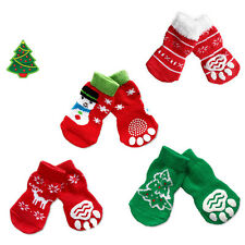 4Pcs Pet Socks Puppy Dog Christmas Warm Clothes Anti-slip Boot Booties Size S-XL